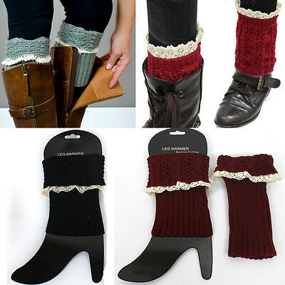 Women Crochet Knit Lace Boot toppers Leg or Arm Warmers Cuffs Knee High LEGGING