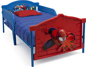 Details about Spider-Man 3D Twin Bed Toddler Kids Wood Modern Furniture w  Removable Guardrails