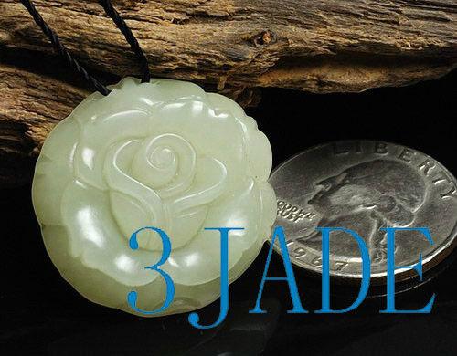 Natural White Nephrite Jade Rose Flower Pendant Hetian Jade Charm / Necklace