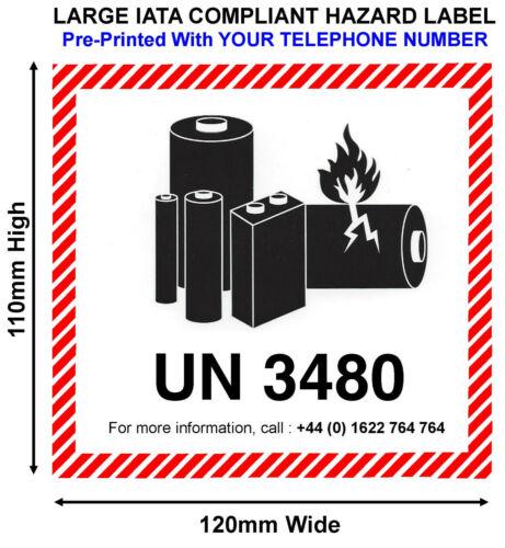 IATA UN3480 LITHIUM BATTERY HAZARD WARNING Labels 120 x 110mm WITH TEL UN3480-TL