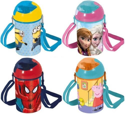 KIDS POP UP DRINKS CANTEEN CHARACTER WATER JUICE FLASK CARRY HANDLE BOTTLE NEW