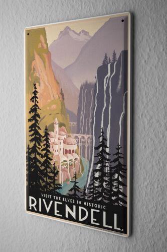 Tin Sign World Tour  Elven Castle historic Rivendell Metal Plate
