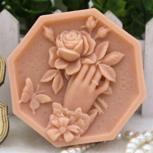 Image is loading Rose-Flower-Silicone-Soap-Mold-Homemade-Soap-Craft-