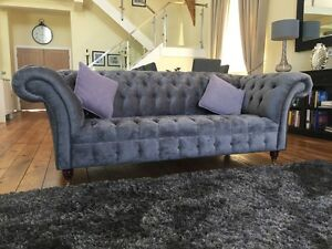 Image Is Loading MODERN HANDMADE 3 SEATER SLATE GREY FABRIC VELVET