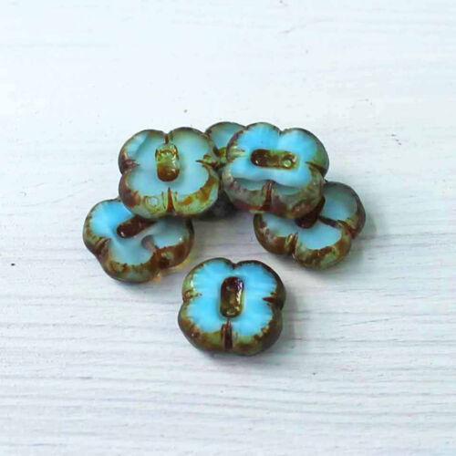 6 Czech Glass Beads 12mm Flower Knob Beads Turquoise Blue Tones CB057