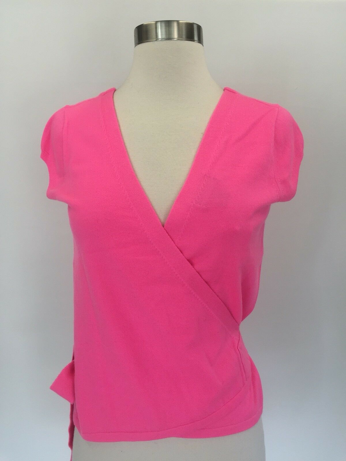 15f12559df2 JCrew Italian Featherweight Cashmere Wrap Sweater Hot Pink Size S G4949 New