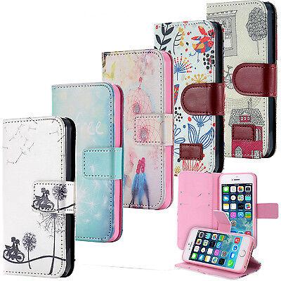Handy Tasche Flip Cover Case Schutz Hülle Etui Motiv Wallet Schale Apple iPhone