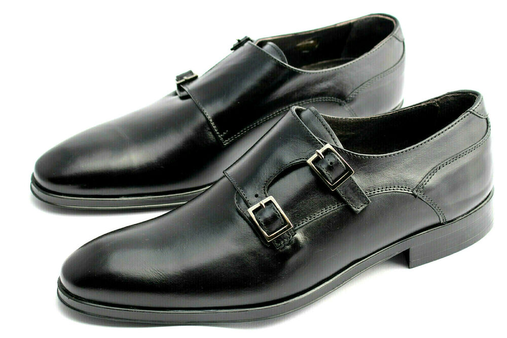 Hommes Cuir Basses Noir Costume Chaussures Boucles Leather Shoes 42 43 44 45