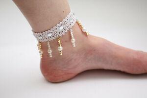 Details Zu Barfuss Sandale Fuß Weiße Spitze Goldene Perlen Hochzeit Festival Unikat Diy