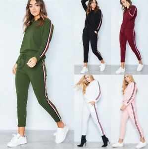 Details about Plus Size 2PC Womens Joggers Loungewear Sweatshirt Tops Tracksuit Trousers Sets
