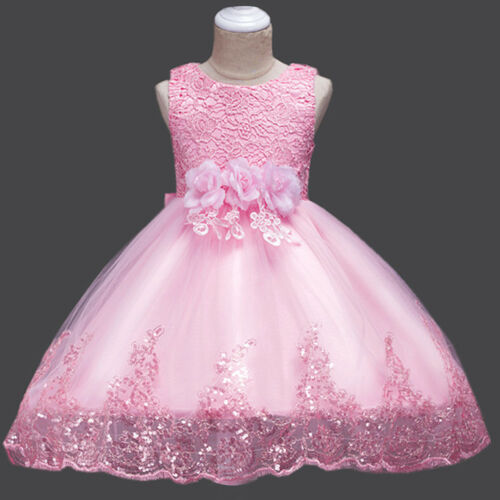 Sequined Lace Flower Girls Dress Wedding Bridesmaid Formal Dresses For Baby Kid