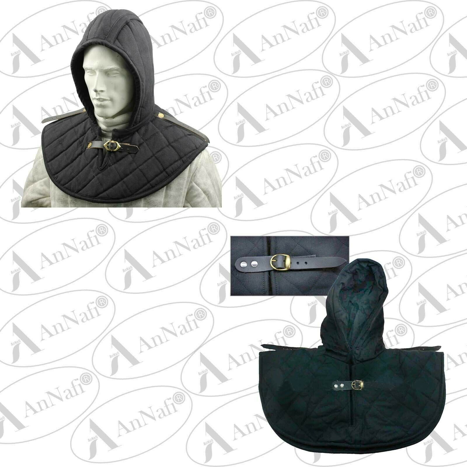 Medieval Cotton Padded Hood Armor Collar and Coif Arming Cap - Black Arming Cap