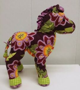 DOUGLAS-11-034-FLOWER-PONY-PLUSH-STUFFED-HORSE-QUILTED-PURPLE-YELLOW-GREEN-EUC
