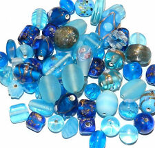 Powder Baby Blue  Bead Mix, with Lamp Work Beads, Wedding Cakes 75 Grams or 30-4