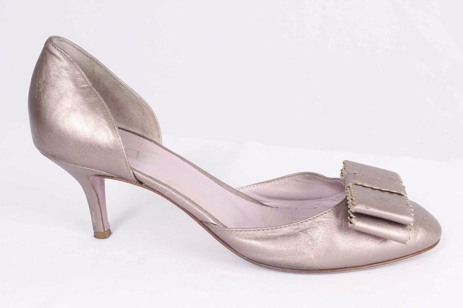ROT Valentino Größe 8M Pale Metallic Pink Bow Embellished d'Orsay Pumps 896 S101C