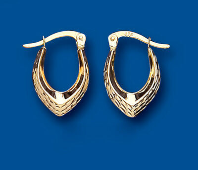 Hoop Earrings Yellow Gold Pointed Creole Hallmarked 15 x 10mm