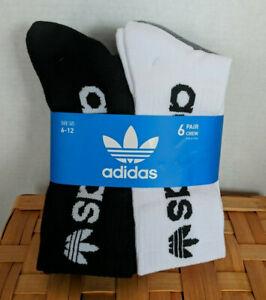 New-Adidas-Originals-Cushion-Crew-Socks-Black-White-Gray-Shoe-Sz-6-12