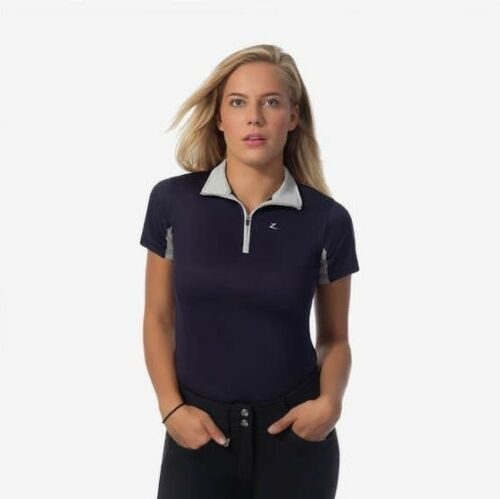 Horze Ladies Purple Grey Vented Short Sleeve Riding Functional English Shirt