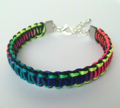 Aspiring Rainbow Multi-colour & Silver Macrame Wrapped Adjustable Bracelet Bangle Bracelets Fashion Jewelry