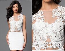 Sleeveless Short Lace Illusion White Wiggle Body Con Wedding Party Mini Dress S