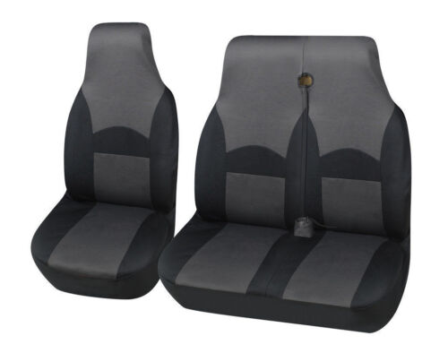 DOUBLE 2-1 DELUXE GREY//BLACK VAN SEAT COVERS SINGLE FORD TRANSIT 2010