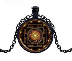 Collier-Pendentif-Symbole-Sri-Yantra-Bouddhiste-Chakra-meditation-Yoga