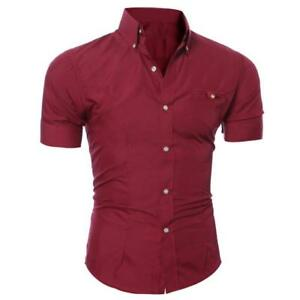 Formal-Mens-Fashion-Luxury-Business-Stylish-Slim-Fit-Short-Sleeve-Casual-Shirt