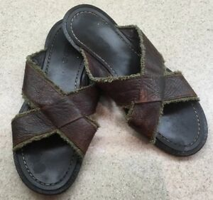 0dbee7eb5 ALDO Mens Slip On Sandals Brown Cross Over Leather Straps 45 12