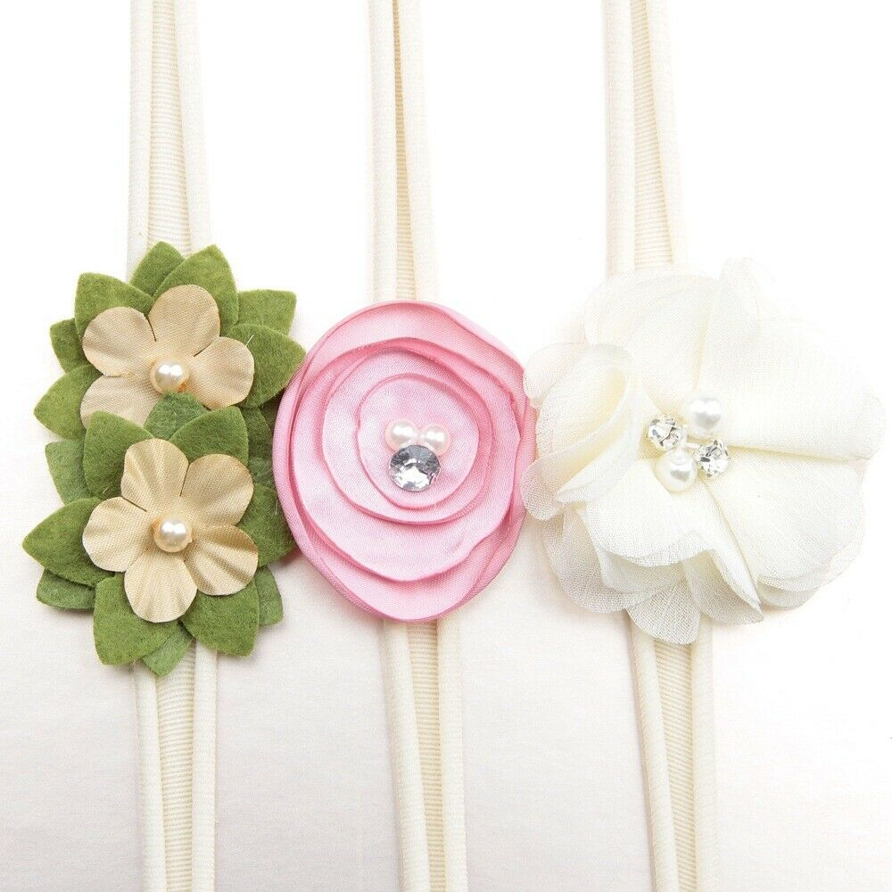 3Pcs/lot Newborn Girl Baby Headband Ribbon Elastic Headdress Kids Hair Band Bow 7