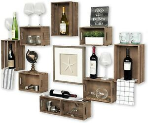 Rustic-Wine-Rack-Storage-Baskets-Wall-Mount-Wooden-Crates-Walnut-Set-of-12