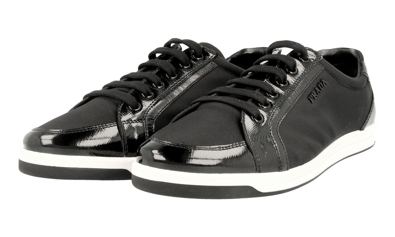 Auténtico Prada saffiano Tenis Zapatos 3E5892 Negro blancoo Nuevo en Caja 41,5 US 11