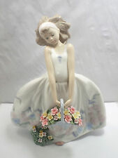 Lladro Figurine #6647 Wildflowers, Girl Holding Basket of Flowers, with box
