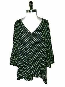 CITY CHIC Size M 18W Blouse Shirt Top Black White Polka Dots 3/4 Sleeve