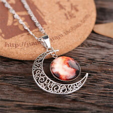 Women Galactic Glass Cabochon Pendant Silver-tone Crescent Moon Necklace CA-10