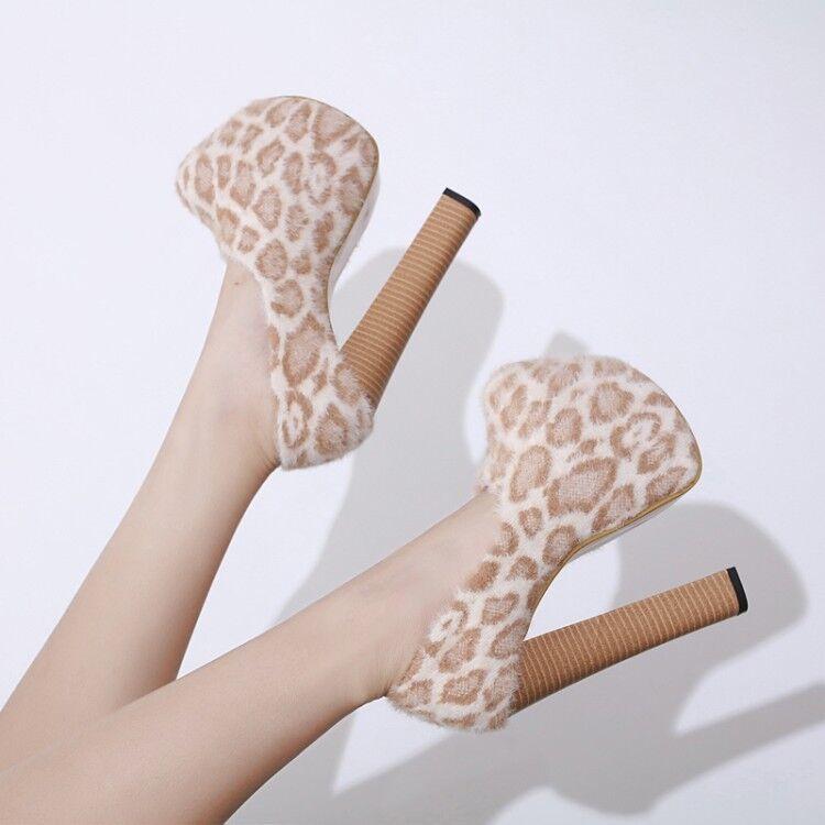Women High Platform Stiletto Heels shoes Party Club Leopard Round Toe Block Pump