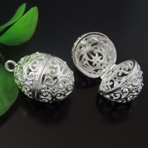 4X Hot Light Silver Brass Hollowed Oval Charms Locket Pendants Mexican Bola Bell