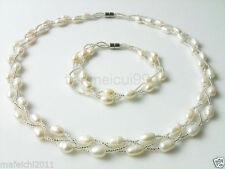 Charming 3 rows white pearl necklace &bracelet set