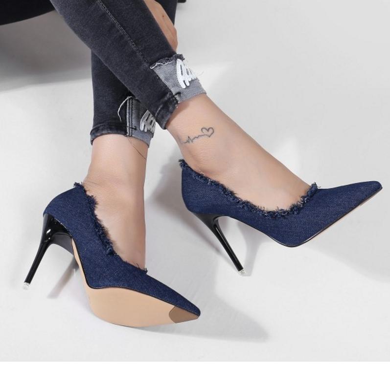 Womens Denim Pointed Toe Slip On Slim High Heels bluee Mary Jane shoes EUR 35-39