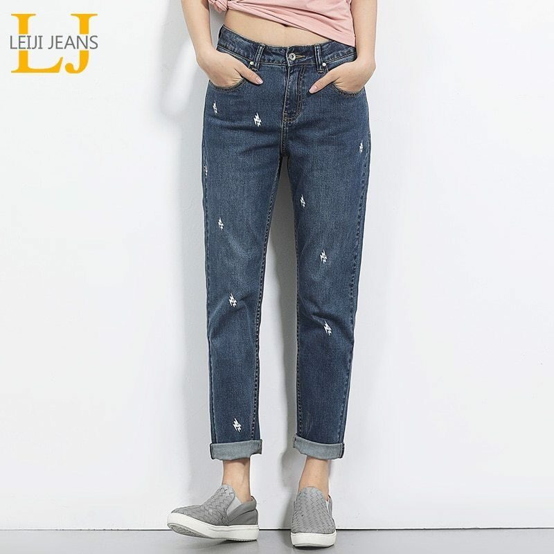 2018 LEIJIJEANS Spring And Summer Plus Size Lightening Printed Mid Waist Full