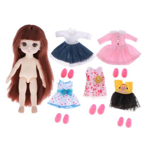 Moveable 13 Ball Joints 1//12 BJD Doll Body w// 5 Set Dress DIY Parts Toy
