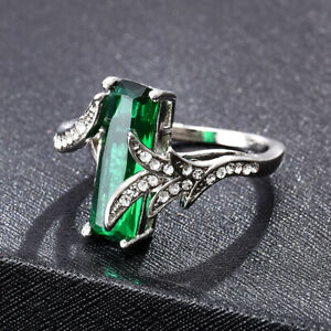 Gorgeous-925-Silver-Wedding-Ring-for-Women-Emerald-Cut-Emerald-Ring-6-10-Gift