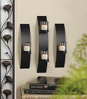 Set of 3 Black Iron and Clear Glass Wall Votive Candle Sconces