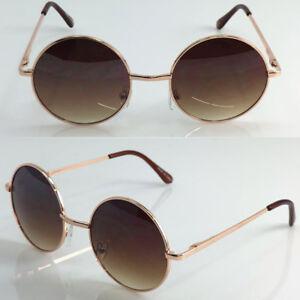 b027bdacbfab Gold Brown Small John Lennon Sunglasses Round Hippie Hipster Retro ...