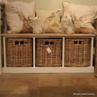 Storage Bench Wooden With 3 Wicker Baskets Southwold Design