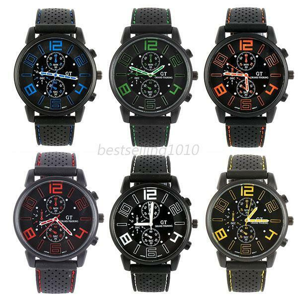 Fashion Black Stainless Steel Luxury Sport Analog Quartz Watch Mens Wrist Watch
