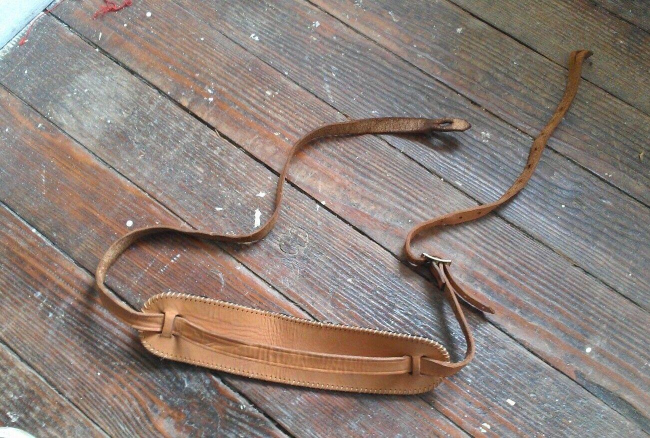 Vintage 1960s Skinny Leather Guitar Strap w Shoulder Pad