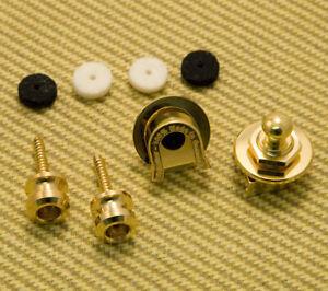 GENUINE SCHALLER GOLD Strap LOCKS KNOBS Fender USA TELE STRAT JASS P BASS GUITAR