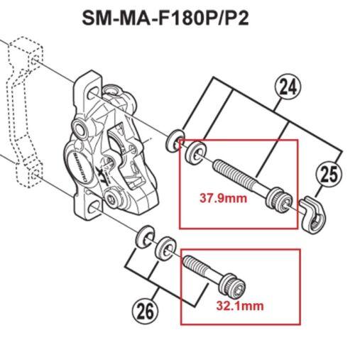 2 Black Titanium Bolt w// Ti Washer M6 x 37.9mm Shimano Disc Brake Caliper Mount