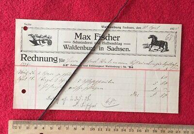 Max Fischer Waldenburg 30.4.1928 Schmied Huf Beschlag Pferd Rechnung Werbung 967