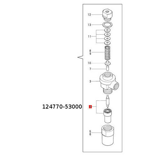 Genuine Yanmar Marine 2GM20-YEU Fuel Injector Nozzle Assembly 124770-53001